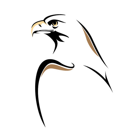 dessin noir et blanc: Croquis de la ligne Aigle isolé sur blanc