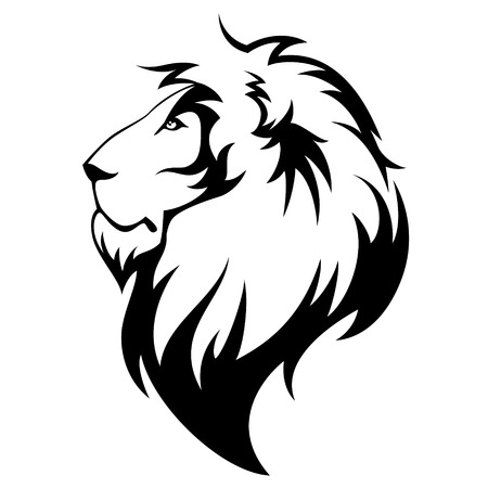 Stylized lion s head emblem illustration for your design Vettoriali