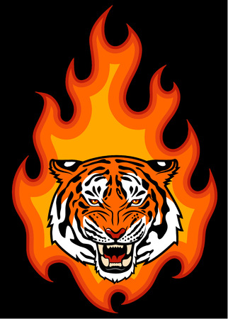 Tiger head on fire illustration for tattoo or your design Illustration