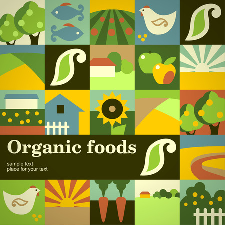 country farm: Mosaic concept background for your design. Organic foods