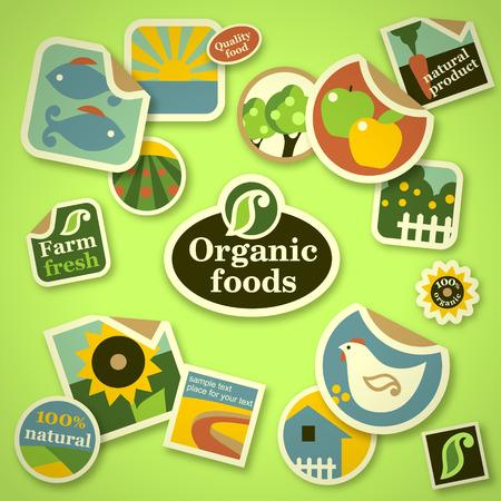 organic: Set of stickers for farm fresh design Illustration