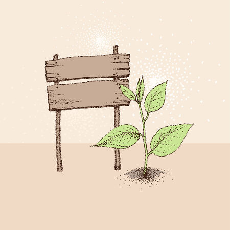 bedrock: Vintage styled eco concept. Wood board and green plant Illustration