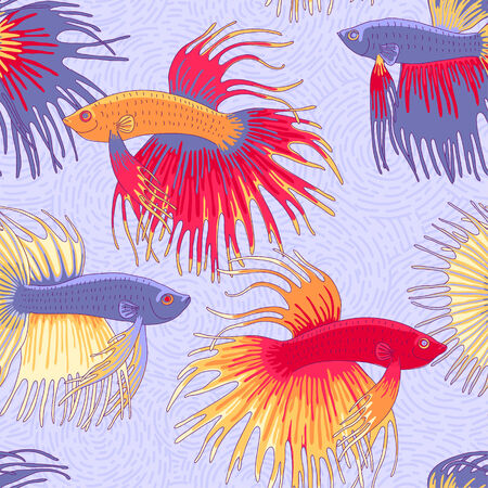 betta: Betta fishes seamless pattern  for your design