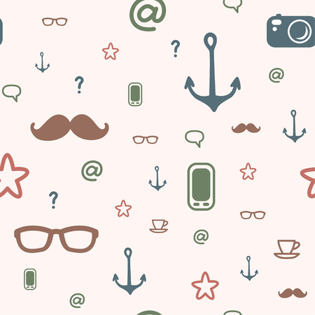Seamless hipster pattern background for your design Vector