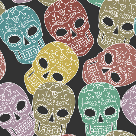 Mexican seamless pattern background with color skulls