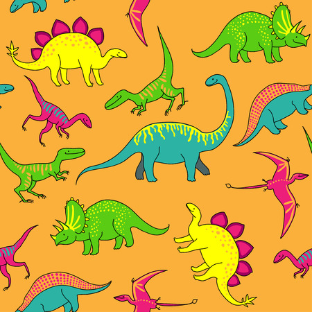 Cartoon happy dinosaurs on yellow background  Funny seamless pattern  Vettoriali