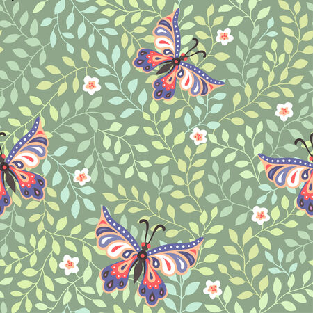 Flying butterflies in green blossoming garden. Spring seamless pattern  Vector