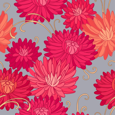 Red chrysanthemums  Floral seamless pattern for your design Vector