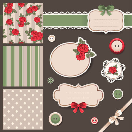 Retro Design elements and patterns for scrapbooking. Pastel color roses. Vector