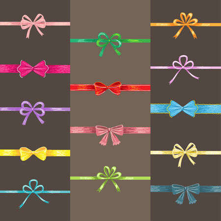 illustratin: Set of cute ribbon elements for design. Vector illustration
