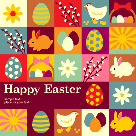 Concept of Easter background. Illustration for your design Ilustração