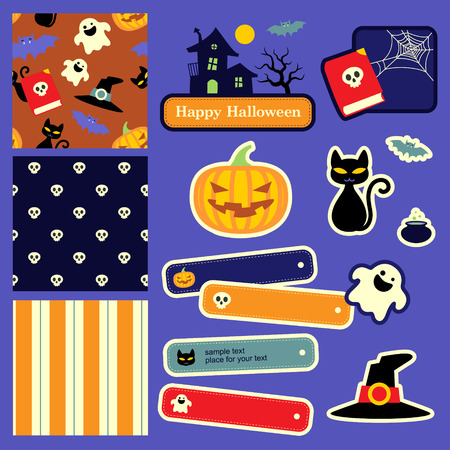 whitch: Cute Halloween design elements and patterns for scrapbooking. Illustration