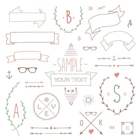 Set of hipster vintage design elements Vector