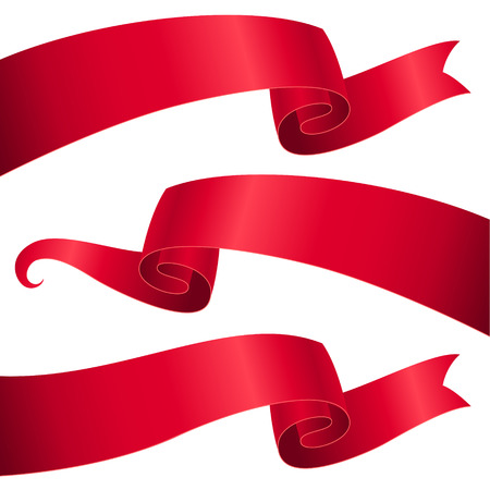 Set of red ribbons for design and decoration