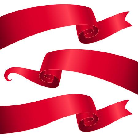 Conjunto de lazos rojos para el diseño y la decoración