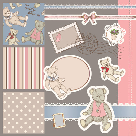 vintage baby: Cute set of elements and patterns for scrapbooking and design with vintage teddy bears Illustration
