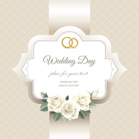 Invitation label with white roses. Elegant card for your wedding  Vector