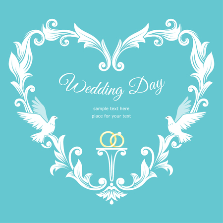 devotions: Wedding baroque frame template card. Vector background