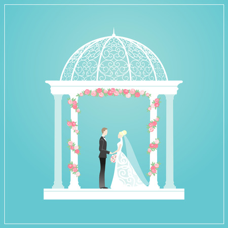Happy bride and groom standing in arbour. Illustration Vector