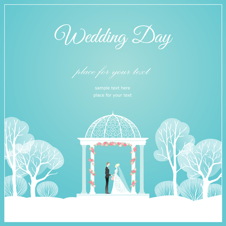 Bride and groom in romantic arbour wedding card