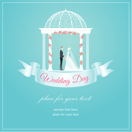 Bride and groom in arbour elegant wedding card  Vector