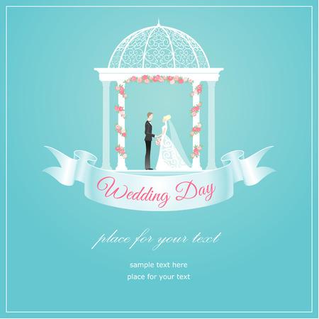 Bride and groom in arbour elegant wedding card  Illustration