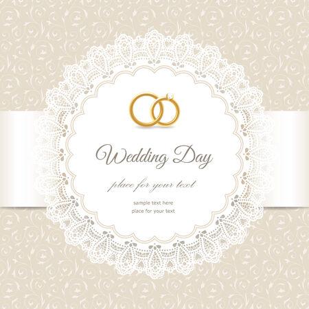 Invitation lace label. Elegant retro card for your wedding