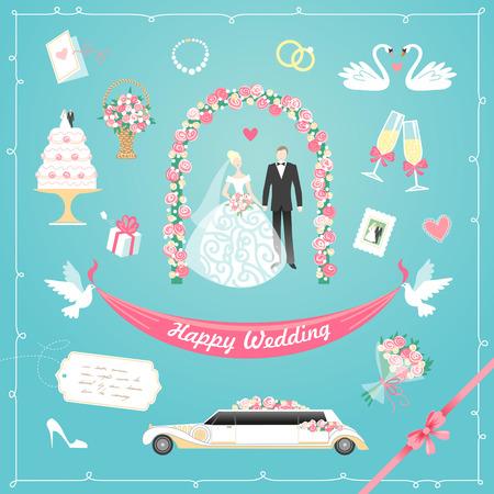 結婚式の要素の設定を祝うデザイン