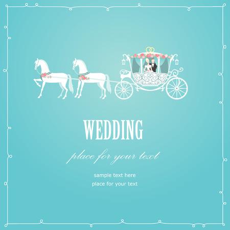 Romantic wedding carriage card for invitation design Illustration