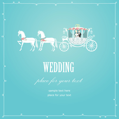 Romantic wedding carriage card for invitation design Illustration