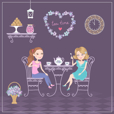 woman drinking tea: Two girls meeting in cafe to drink tea and talking.