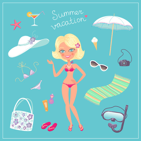 blondy: Beauty blondy girl and set of summer holidays icons Illustration