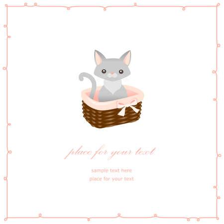 grey cat: Little grey cat in basket. Cute card for design. Vector illustration Illustration