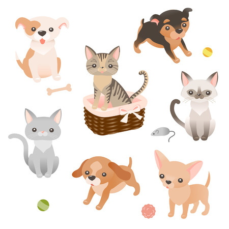 cute cartoon dog: Set of cute little puppies and kitties characters Illustration