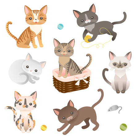 Set of  cat characters. Cute icons for design.  Vector