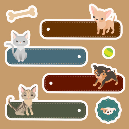 Set of cute labels with domestic animals for scrapbooking and design Vector