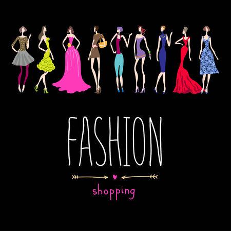 Las mujeres jóvenes de moda de compras de fondo
