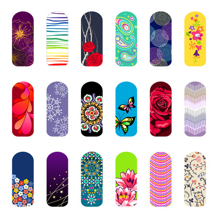 Set of nail art designs for beauty salon