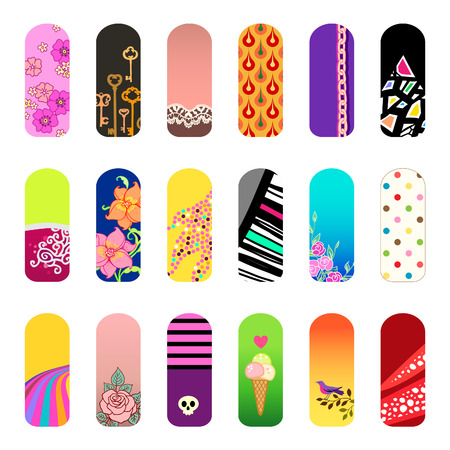 Nail art salon concept background royalty free cliparts vectors set of nail art designs for beauty salon vector prinsesfo Choice Image