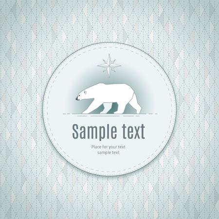 Stylize Polar Bear In Round Frame On Geometric Background. Template ...