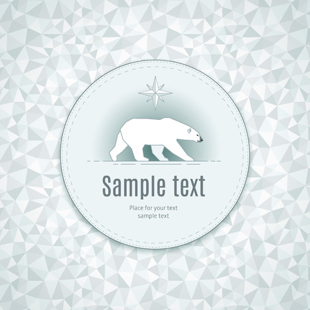 expedition: Stylize polar bear in round frame on ice background. Template for your design