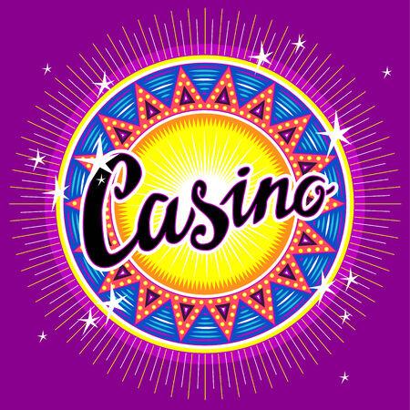 rueda de la fortuna: Emblema redondo de casino con título para su diseño