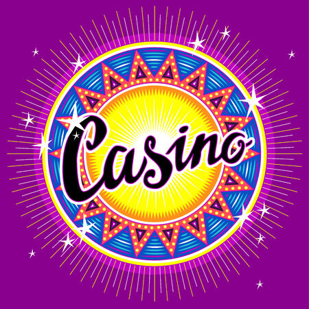 fortune wheel: Round emblem of casino with headline for your design