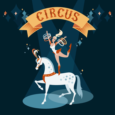 Circus show illustration. Girl dancing on a white horse