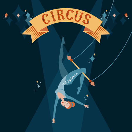 Circus show illustration. Acrobat girl flying on trapeze 