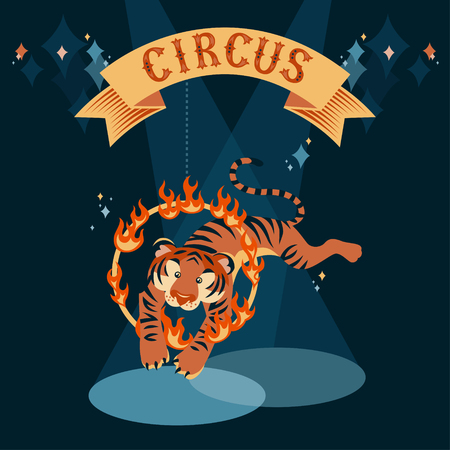 Circus show illustration. Tiger jumping through the fire ring