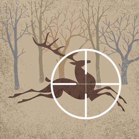 wildlife shooting: Running forest deer is a target of hunting. Vector illustration
