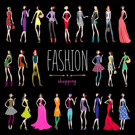 Mujeres jóvenes tiendas de moda de fondo