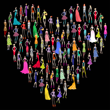 glamour shopping: Fashion women silhouettes in heart on black background