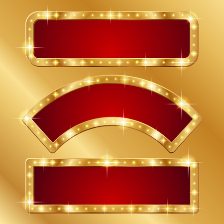 Set of holiday banners with gold borders  Ilustração